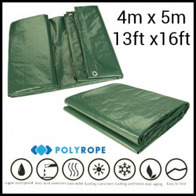 Tarpaulin Medium Duty 140gsm Green 4mX5m Camping Car Garden Boat Patio Cover 4mx5m (13ftx16ft)